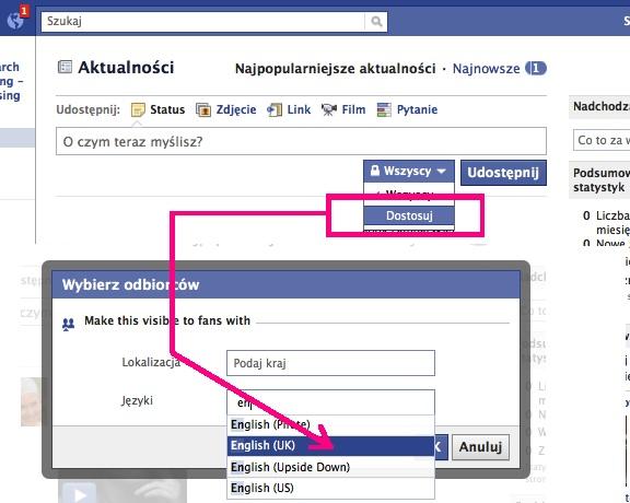 Prowadzenie facebooka w kilku jezykach