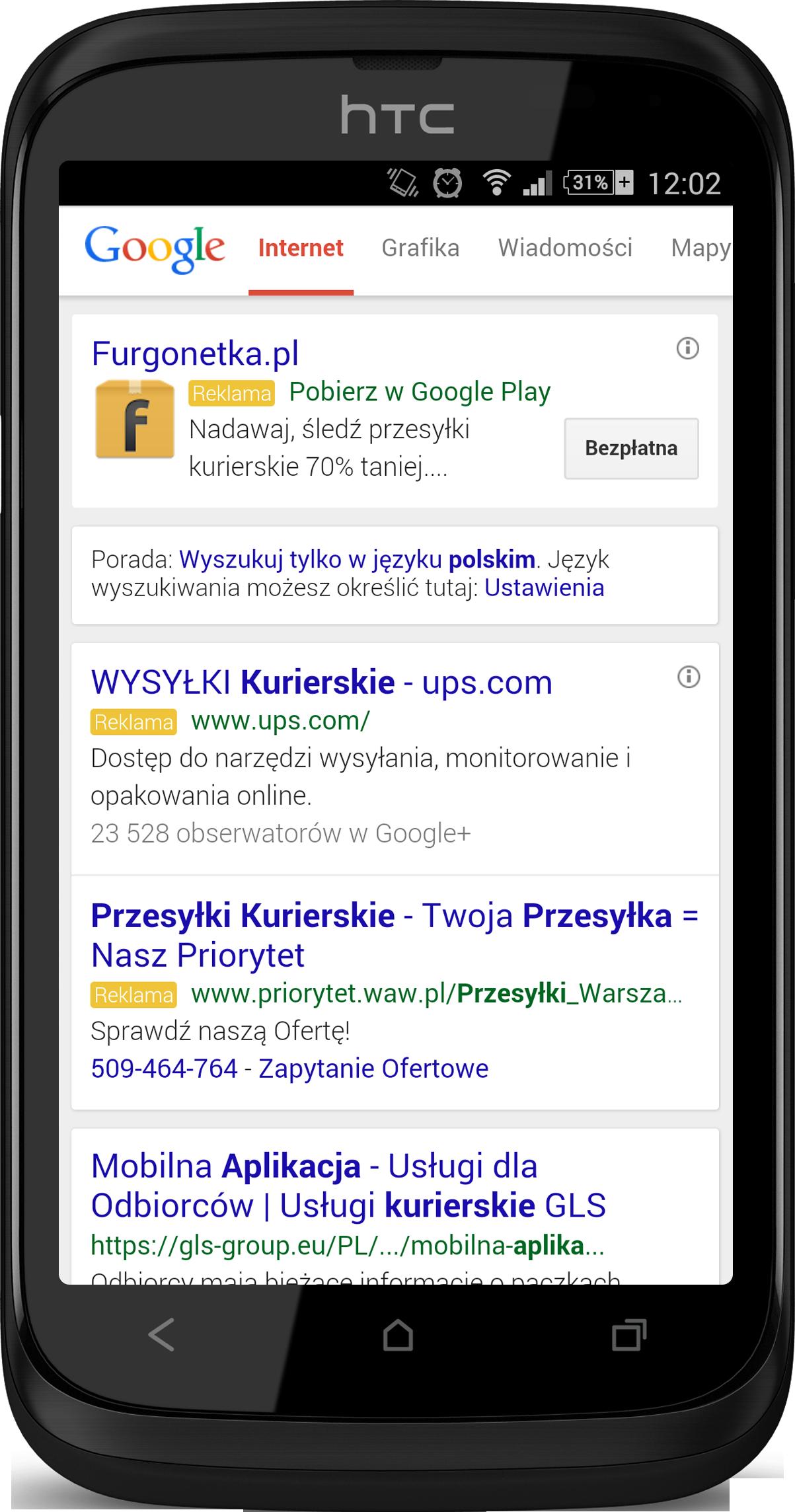 Reklama aplikacji mobilnej w Google wyszukiwarka
