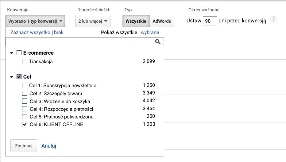 ustawienia analytics klient offline