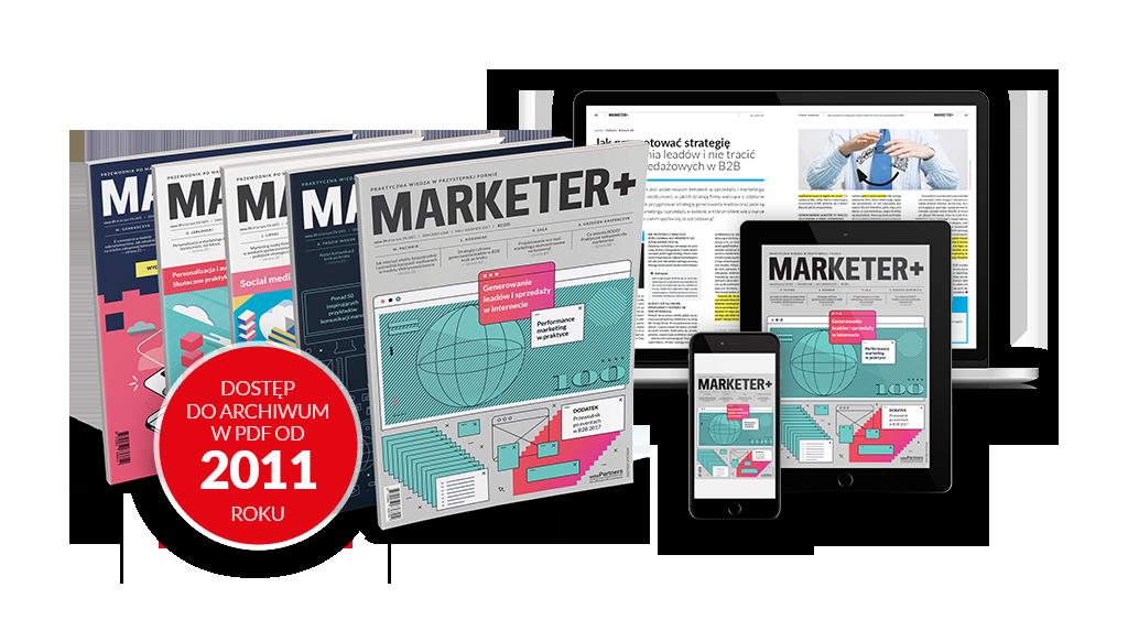Zdjęcie okładek różnych numerów magazynu Marketer+ w wersjach papierowej i elektronicznej.