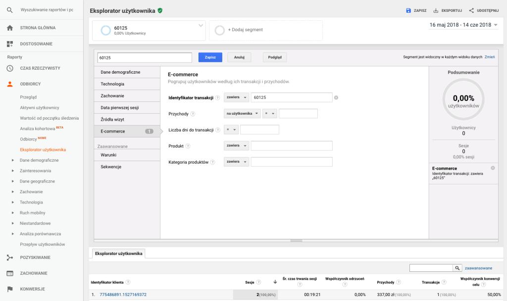 """Screen panelu Google Analytics - sekcja """"Eksplorator użytkownika"""" pokazujący wyszukiwanie transakcji e-commerce w Google Analytics."""