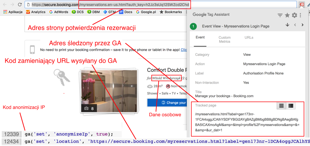 Screen strony Booking.com pokazujący anonimizację danych osobowych przesyłanych do Google Analytics.