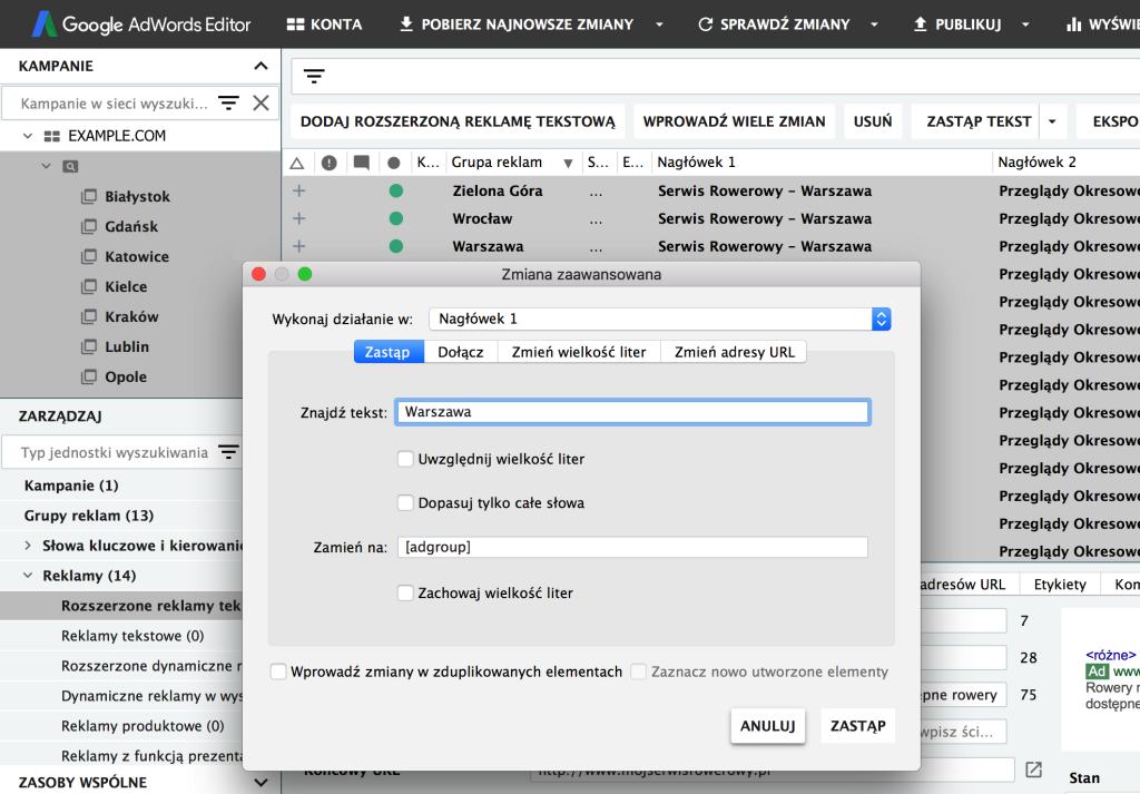 Screen edytora Google Ads pokazujący możliwość zastosowania formuły podczas podmiany tekstu w nagłówkach reklam.