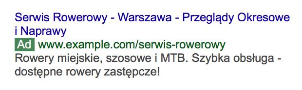Screen przykłady reklamy Google Ads.