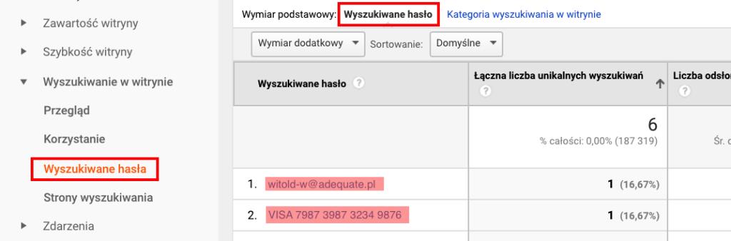 Screen panelu Google Analytics pokazujący dane osobowe w wyszukiwarce wewnętrznej strony.