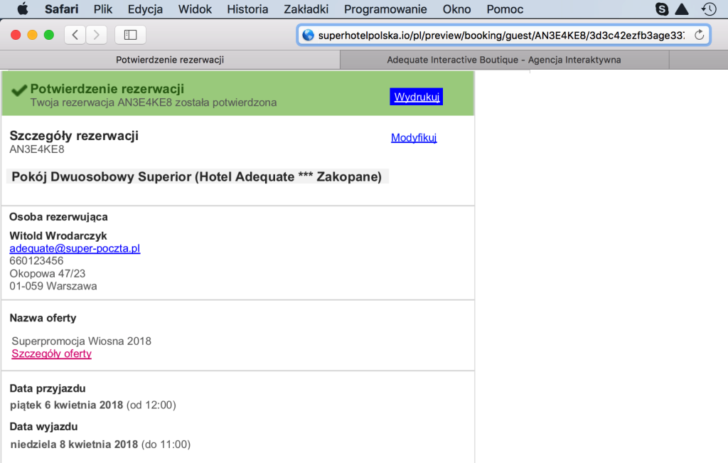 Screen strony internetowej pokazującą transakcję z widocznymi danymi osobowymi.