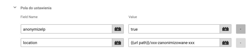 Screen panelu Google Tag Manager'a pokazujący możliwość modyfikacji kodu GA, która dokona zmiany adresów URL przed ich wysłaniem do Google.