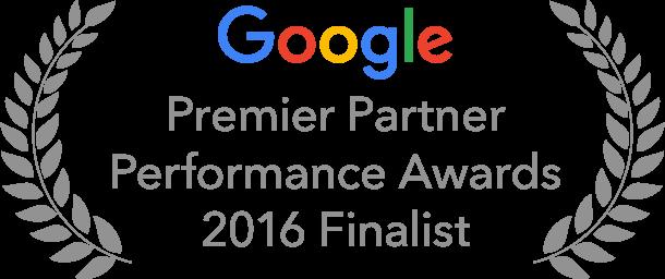 Oznaka finalisty konkursu Google Premier Partner Awards 2016