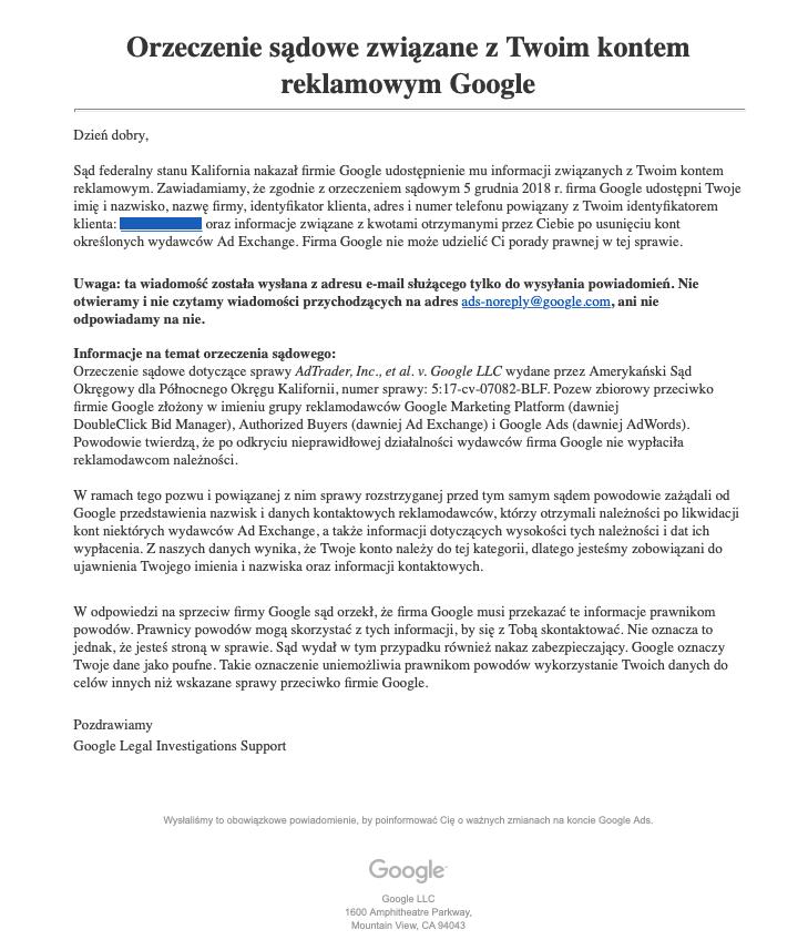 Screen orzeczenia sądowego związanego z kontem reklamowym Google odnośnie udostępnienia danych takich jak: imię i nazwisko, nazwa firmy, identyfikator klienta, adres i numer telefonu powiązany z identyfikatorem konta.