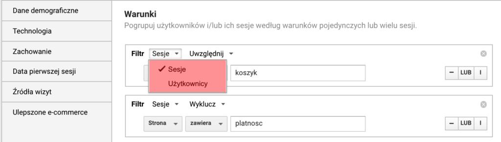 Screen kreatora listy odbiorców pokazujący wybór rodzaju segmentu przy tworzeniu listy remarketingowej.
