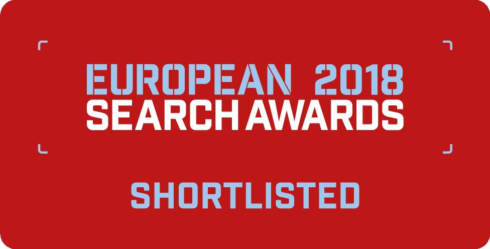 Odznaka nominacji w konkursie European Search Awards 2018
