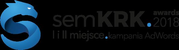 Odznaka konkursu semKRK 2018 za zajęcie I i II miejsca w kategorii Kampania Adwords