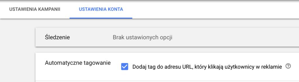 Screen z panelu Google Ads pokazujący możliwość odznaczenia opcji automatycznego tagowania w adresach URL.
