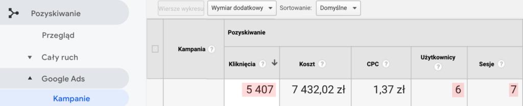 Screen z panelu Analytics pokazujący umiejscowienie raportowania danych o kliknięciach oraz koszcie kampanii w sekcji Pozyskiwanie > Google Ads.