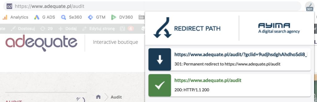 Screen pokazujący podgląd ścieżki przekierowań we wtyczce Redirect Path.