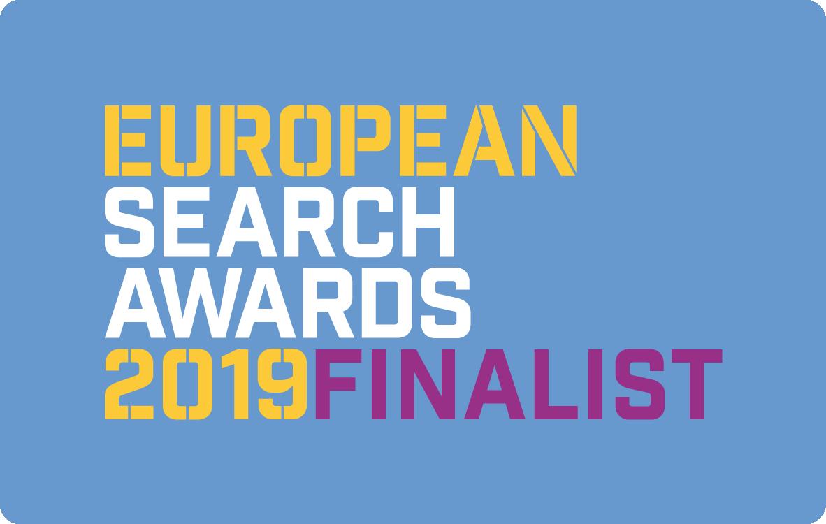 Odznaka nominacji w konkursie European Search Awards 2019
